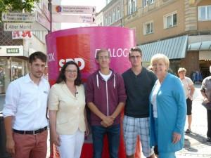 v.l. Marcel Werner, Andrea Nahles MdB, Mark Schrolle, Thomas Kunz, Hannelore Kraft MP